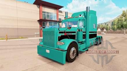 A pele azul-Turquesa preto para o caminhão Peterbilt 389 para American Truck Simulator