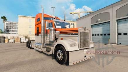 Pele Cinza Laranja no caminhão Kenworth W900 para American Truck Simulator