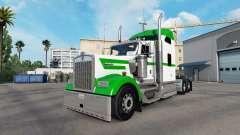 Pele Branca E Verde no caminhão Kenworth W900