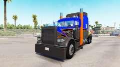 Pele Cinza Laranja no caminhão Peterbilt 389