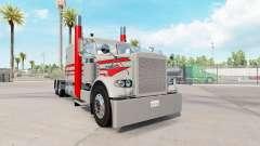 Pele Cinza E Vermelho para o caminhão Peterbilt 389 para American Truck Simulator
