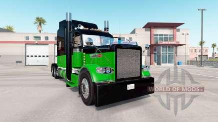Pele Preta E Verde para o caminhão Peterbilt 389 para American Truck Simulator