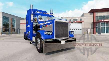 A pele Azul E Cinza Metalizado no caminhão Peterbilt 389 para American Truck Simulator