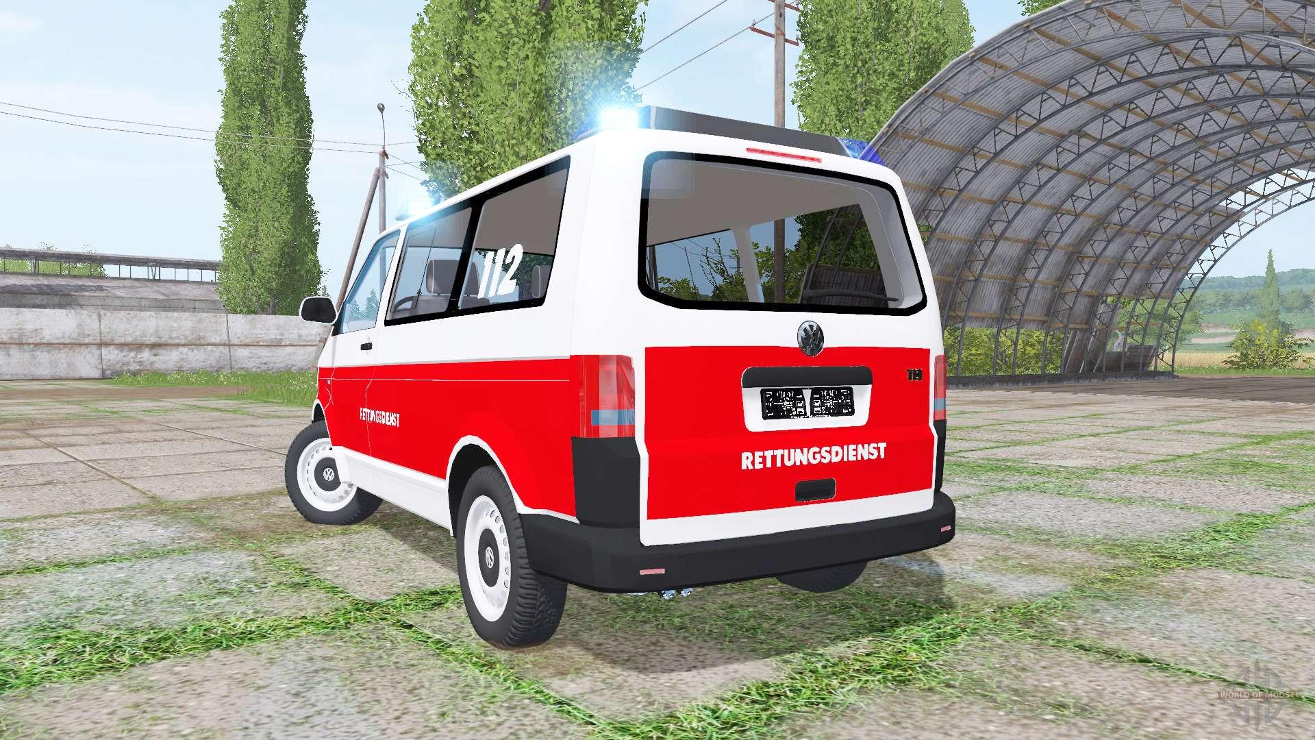volkswagen transporter t5 rettungsdienst para farming simulator 2017. Black Bedroom Furniture Sets. Home Design Ideas