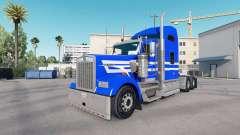 Pele Azul Listras Brancas no caminhão Kenworth W