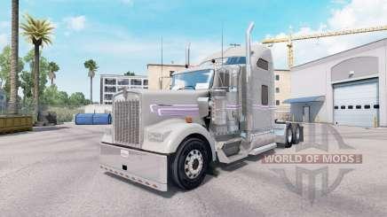 Pele Cinza Roxo Kenworth W900 trator para American Truck Simulator