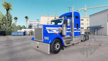 Pele Azul Listras Brancas no caminhão Kenworth W900 para American Truck Simulator