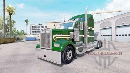 Pele Verde Ouro no caminhão Kenworth W900 para American Truck Simulator