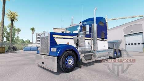 Pele Azul Amarelo Branco para o caminhão Kenworth W900 para American Truck Simulator