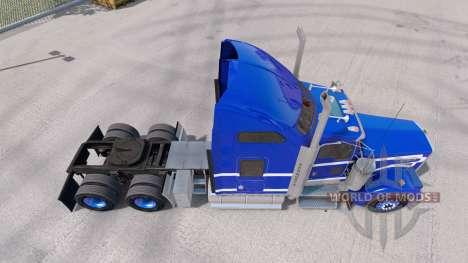 A pele Azul sobre fundo Branco caminhão Kenworth W900 para American Truck Simulator