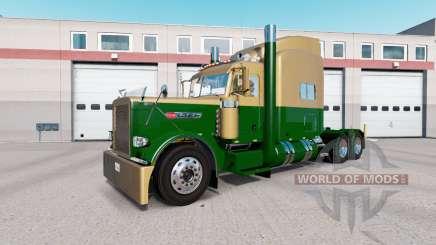 Pele Escura Ouro Verde no caminhão Peterbilt 389 para American Truck Simulator