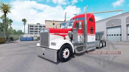 Pele Branca em Vermelho trator Kenworth W900 para American Truck Simulator